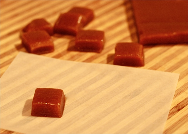 apple cider caramels with saffron and rose water