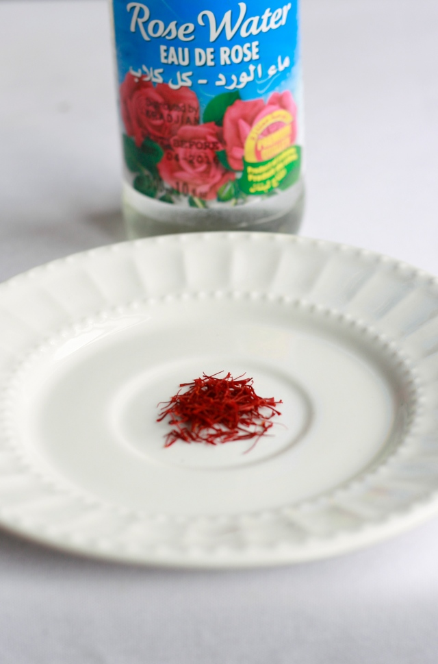 saffron threads and rose water